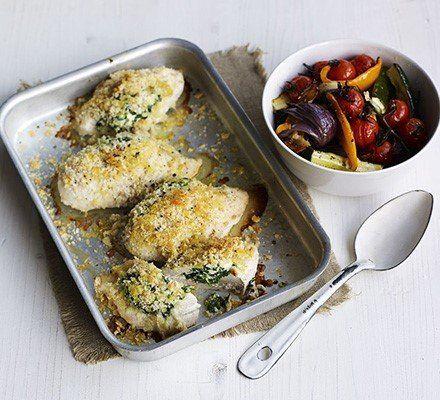 Recetas – Espinaca, ricotta y traybake de pollo