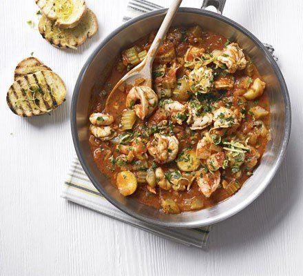 Recetas – Gambas y tomate cocido con gremolata