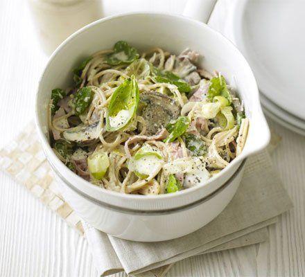 Recetas – Espaguetis cremoso de jamón, puerros y setas