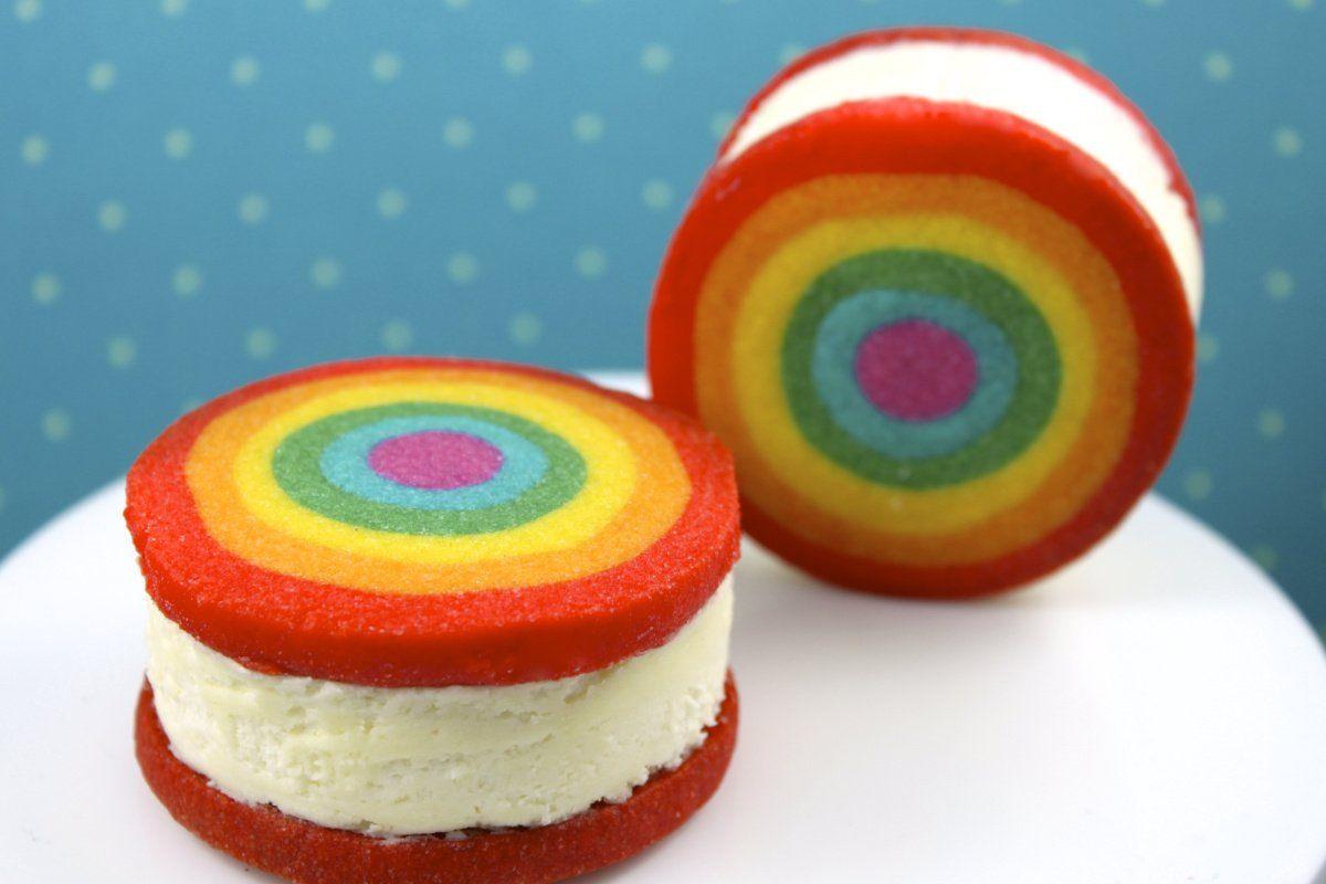 Sandwich de helado arcoiris