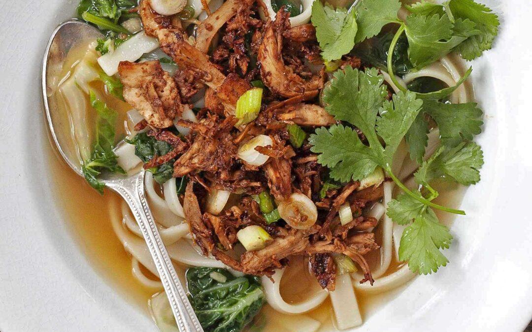 Sopa de Udon de Pollo con Receta Bok Choy