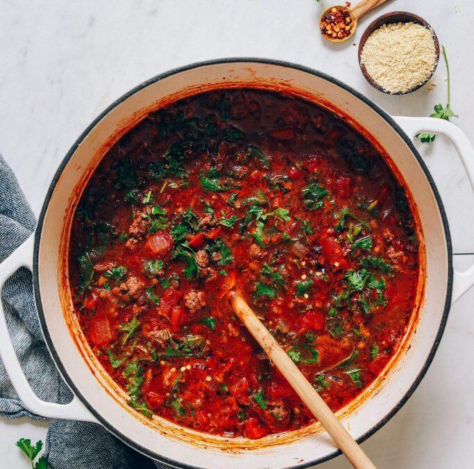 Sopa de carne y lentejas estilo toscano de 1 olla