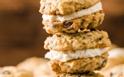 Tartas de crema de avena – Galletas sándwich suaves y masticables