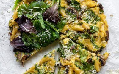 Pasta Frittata – Pasta Frittata fácil con verduras de primavera