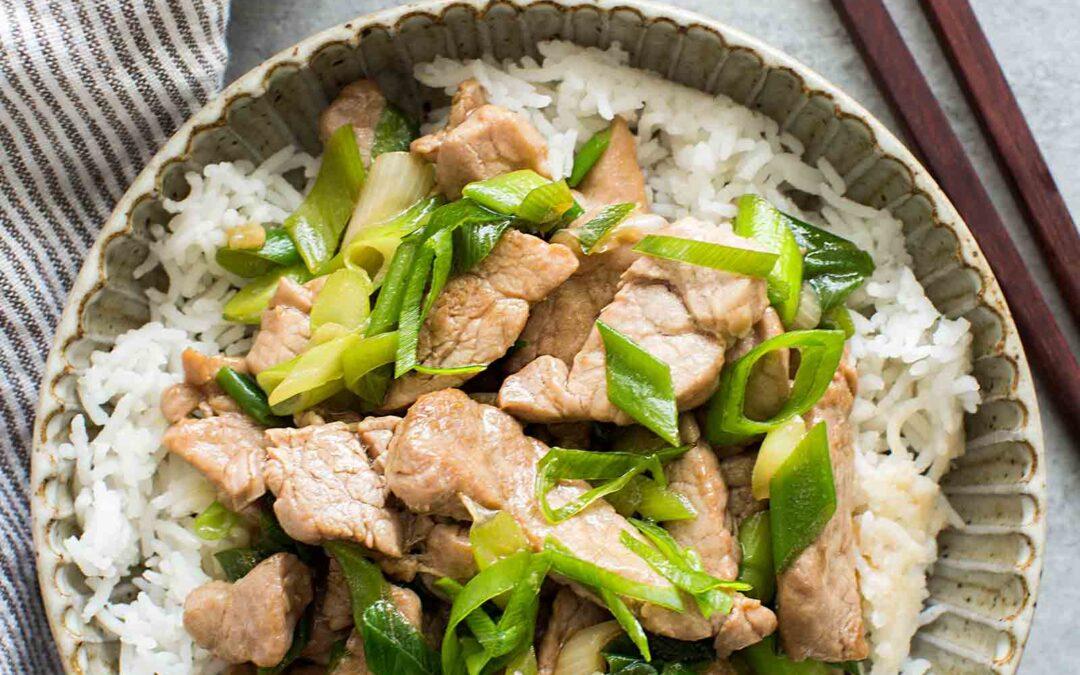 Salteado de Cerdo con Receta de Cebolla Verde