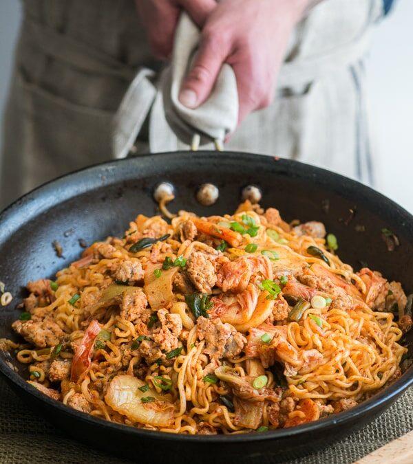 Pork and KimChi Noodle Stir Fry: Ramen Hack