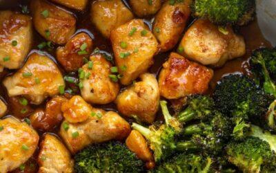Pollo albaricoque – Pollo albaricoque pegajoso con brócoli asado