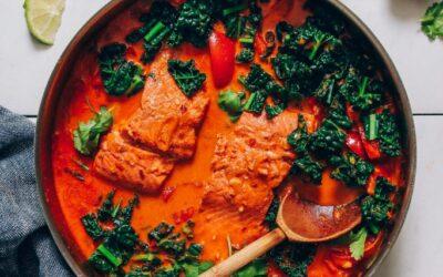 Curry rojo de salmón fácil de 1 sartén