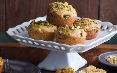 Mini pasteles de té de aceite de oliva pistacho