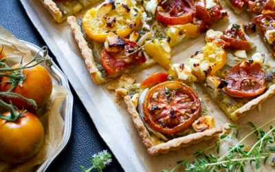 Receta de tarta de tomate con tomate al pesto y reliquia