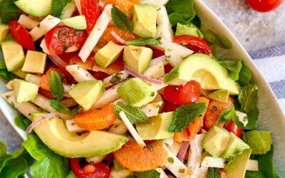 Receta de ensalada de jícama, aguacate y naranja