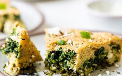 Pastel de espinacas y queso feta sin corteza fácil