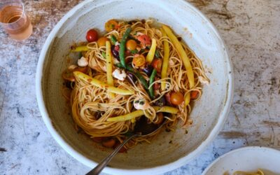 Espagueti con salsa sin cocción