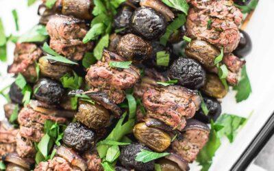 Receta de brochetas de filete de oliva y romero